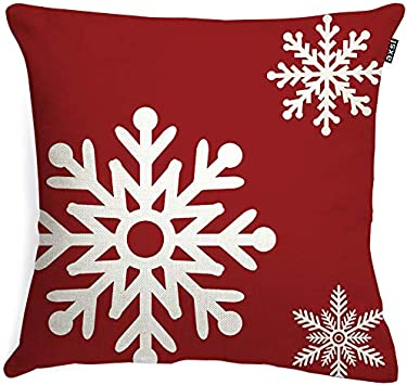 axsl Buffalo Check Snowflake Pillow Cover Christmas Red Farmhouse Throw Pillow Cover Plaid Cuhion Cover Case for Couch Sofa Home Decoration Farm Christmas Pillows Linen 18 X 18 Inches