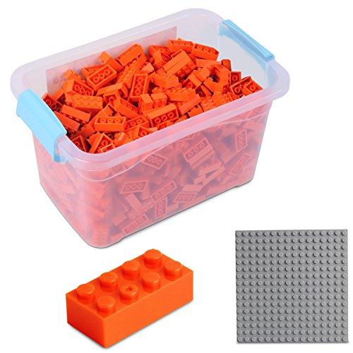 Katara Juego De 520 Ladrillos Creativos En Caja Con Placa De Construcción 100% Compatibles Con Lego Classic, Sluban, Papimax, Q-bricks, Color Naranja (1827) , color/modelo surtido