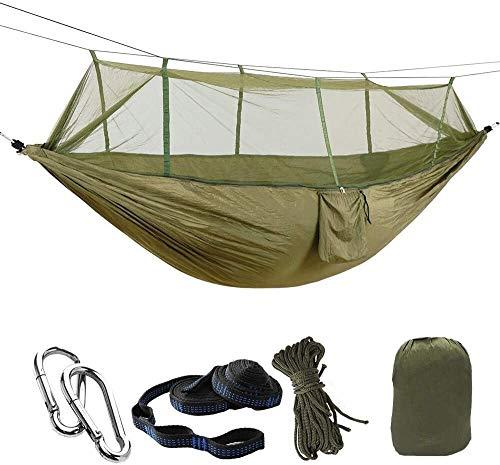 Wxqym Hamaca de camping para 1/2 personas con mosquito/mosquitero, hamaca individual y doble, ligera y portátil de paracaídas de nailon para camping, mochilero, supervivencia