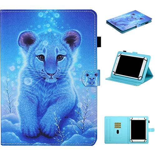 MEMETIAT Funda de piel para tablet de 7 pulgadas, universal, con costuras de dibujo horizontales, con soporte, ranuras para tarjetas y tira antideslizante (color: Little Tiger)