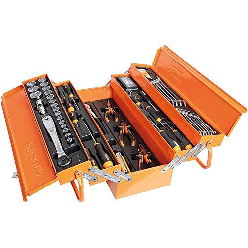 Beta 2120L-E/T91-I - Cassetta porta attrezzi in metallo con Set di 91 Attrezzi per la Manutenzione Generale, in Termoformato, contiene: Chiavi a Bussola, Chiavi Maschio, prolunghe, pinze e altro