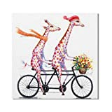 N / A Giraffe Riding a Bicycle Oil Painting Animal Pet Art Canvas Painting Decorating a Kids Room Frameless 80cmx80cm