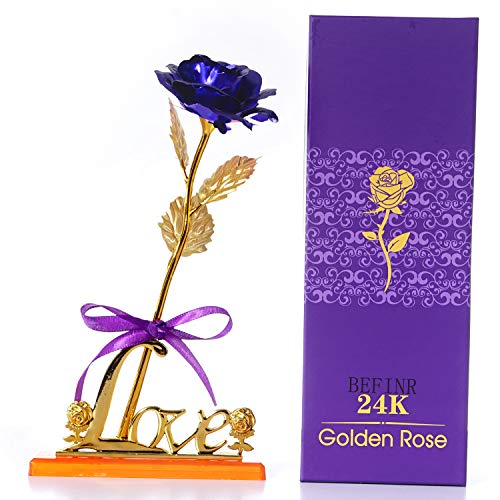 BEFINR 24K Gold Artificial Forever Rose Flowers Gifts for Women, Mom Teen Girls Girlfriends Grandma for Valentine's Day, Anniversary, Birthday and Mother's Day (Blue)