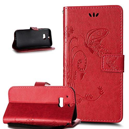 Kompatibel mit HTC One M8 Hülle,HTC One M8 Schutzhülle,ikasus Prägung Groß Schmetterling Blumen Muster PU Lederhülle Flip Hülle Cover Schale Ständer Wallet Hülle Schutzhülle für HTC One M8,Rot