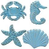 Haidong Unique Retro Cast Iron Handle Seashell, Seahorse, Starfish, Scallop Single Hole Door Handle Drawer Handle(Set of 4) (Blue)