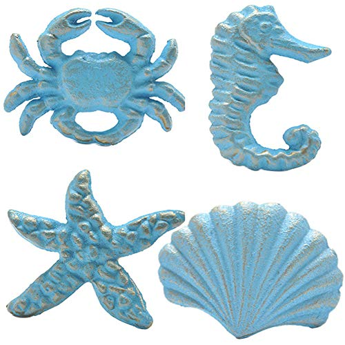 Haidong Unique Retro Cast Iron Handle Seashell, Seahorse, Starfish, Scallop Single Hole Door Handle Drawer Handle(Set of 4) (Blue)