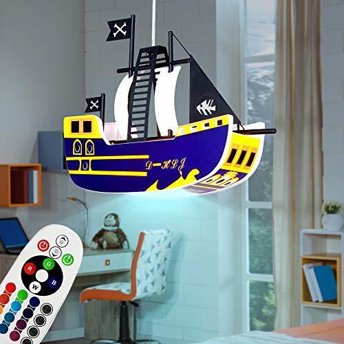 LED Kinder Pendel Decken Hänge Lampe Leuchte Piraten-Schiff Spiel-Zimmer inkl. RGB Fernbedienung Farbwechsler dimmbar Beleuchtung