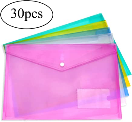H&S 30 A4 Plastic Wallets Folder Foolscap Document Files Popper Wallet Envelope Folders Pockets Clear Green Red Blue Yellow