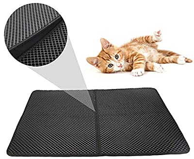 """FXxswey Cat Litter Mat Litter Trapping Mat, Honeycomb Double Layer Design Waterproof Urine Proof Trapper Mat for Litter Boxes, Easy Clean Scatter Control (28"""" X 22"""" Inch)"""