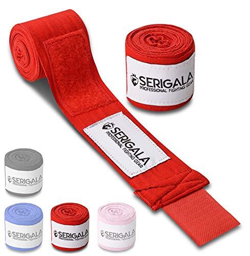 Serigala 4,5m Boxbandagen mit Daumenschlaufe - Halb elastische Bandagen Boxen mit extra breitem Klettverschluss - Kampfsport Bandagen für Thaiboxen, Kickboxen, MMA und Muay Thai Rot