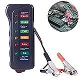 Qiorange Professional KFZ-Batterietester,12V 6 LED Digital Lichtmaschinen-Tester,Testgerät für 12V Autobatterien mit Multifunktion für Auto Motorrad Boot (Typ A)
