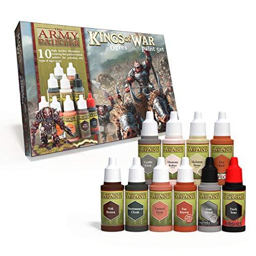 The Army Painter | Kings of War Kings of War Ogres Paint Set | 10 Colores Acrílicos para la Pintura de Huestes de Orcos y sus Máquinas de Guerra| Pintura de Modelos en Miniatura Wargames