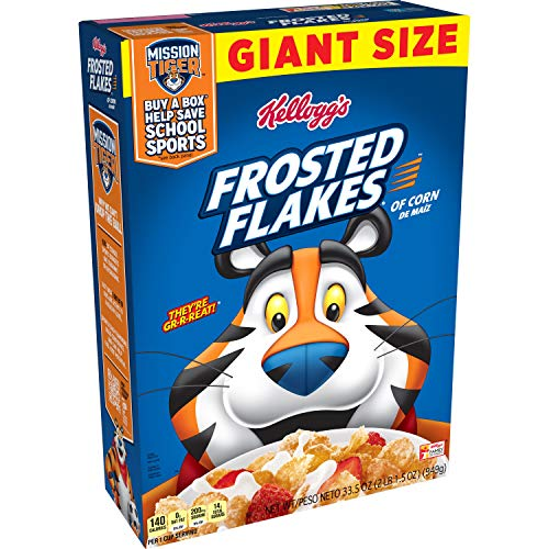 Kellogg's Frosted Flakes, Breakfast Cereal, Original, Giant Size, 33.5oz Box(Pack of 8)