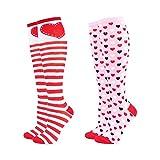 Hot Feet Frauen-Knie-Hohe Valentines Herz-Socken, nette & gemütliche Neuheit gestreifte Socken (2-Pack)