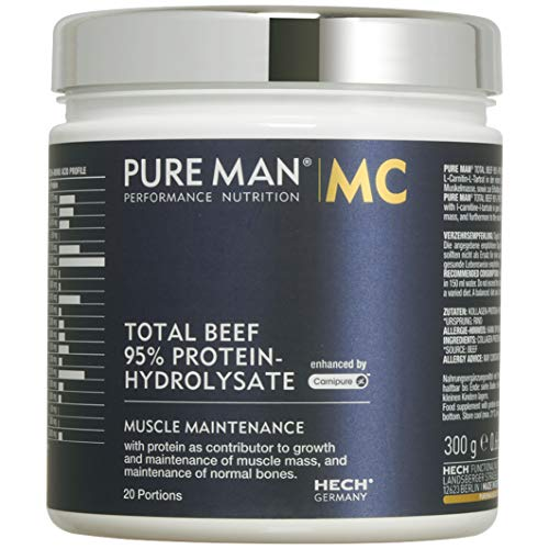 HECH - PURE MAN Total Beef 95% PROTEIN-HYDROLYSATE mit L-Carnitin von Carnipure®, 300g Dose