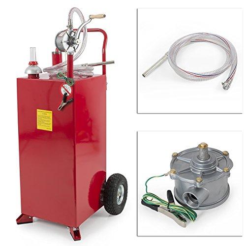 9TRADING 30 Gallon Gas Caddy Tank Storage Drum Gasoline Diesel Fuel Transfer Wired Hose