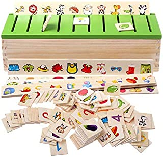 Montessori Educational Wooden Game Recognition Toy Animal Fruit Knowledge Classification Learning Box Cognitive Education ...