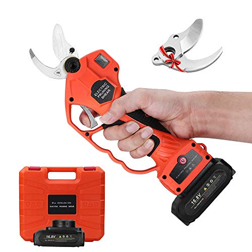 Seesii Handheld Cordless Electric Pruning Shears,2PCS Rechargeable 2Ah Battery Powered Tree Branch Pruner,32mm (1.26 Inch) Cutting Diameter,with Replacement Blade