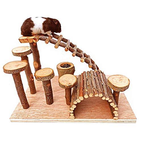 Tfwadmx Wooden Hamster Bridge, Small Animals Climbing Ladder Activity Set Platform Ramps Playground Toys for Mouse Dwarf Hamster Gerbil Rat Sugar Glider Syrian Hamster