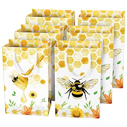 WERNNSAI Biene Geschenktüte - 16 Pack Geburtstag Partyzubehör für Kinder Mädchen Biene Partytüten Baby Shower Süßigkeiten Papier Mitbringsel Tasche mit Griff