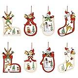 Kiiwah 8pcs Addobbi Albero di Natale Legno Albero di Natale Decorazione Abbellimenti di Legno Addobbi Appesa Ornamenti