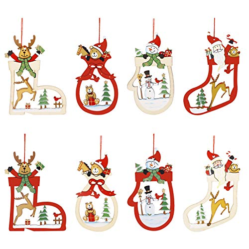 Kiiwah Décorations de Noël en Bois, Décoration Arbre de Noël, DIY en Bois Pendentif Décorations pour Arbre de Noël et Décorations de Fête