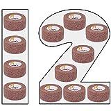 Amathings - 12 bendaggi autoadesivi per cerotti in tinta unita, colore scuro, 2,5 cm di larghezza, 4,5 m di lunghezza, cerotto per dita dei piedi, senza colla