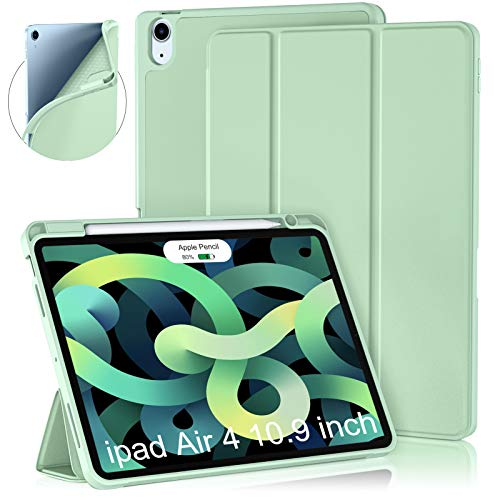 Cousper Case for iPad Air 4th Generation Case 10.9 Inch 2020, Slim Stand Case for iPad Air 4th Case Cover with Pencil Holder [Support 2nd Apple Pencil Wireless Charging] [Auto Sleep/Wake],Matcha Green