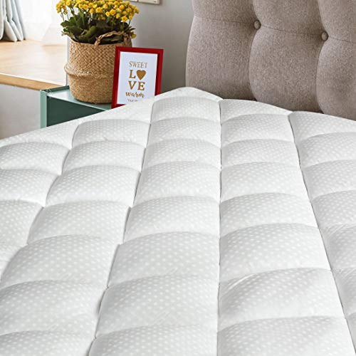MERITLIFE Queen Size Mattress Pad 300TC Cotton Top Pillow Top Mattress Topper 8-21 inch Deep Pocket Fitted Mattress Protector Cover Fill 3D Snow Down Alternative (Queen, White Classic)