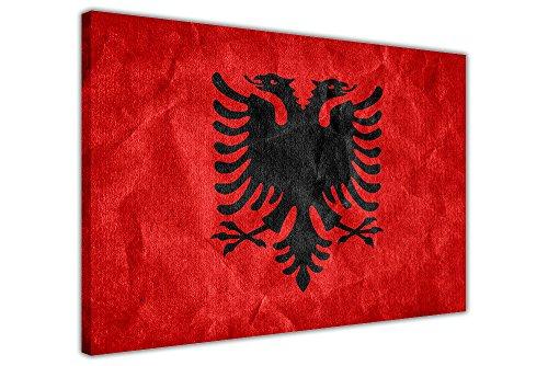 Albanien-Flagge auf Leinwand, gerahmt, 18 mm dick, Rahmengröße: 101 x 76 cm