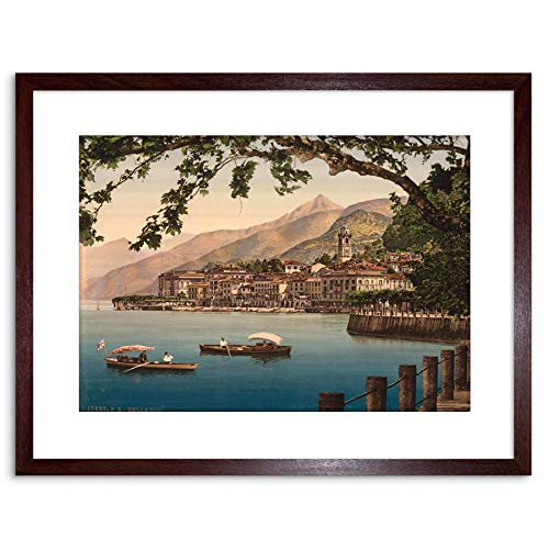 9x7 '' Photo Bellagio General Lake Como Landscape Boats Framed Art Print F97X806
