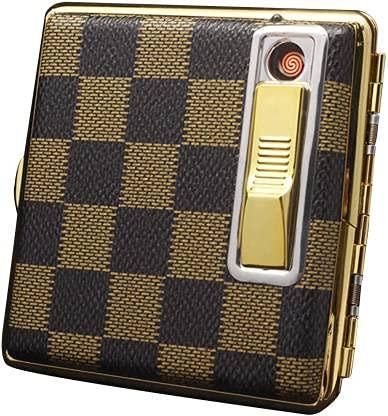 Redshell Leather 20 Cigarette Case Box - Double Sided Spring Clip Open Pocket Retro Metal Case Cigarette Lighter (Gold)