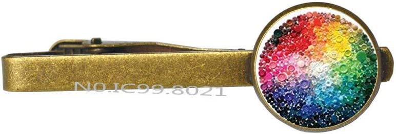 Rainbow Tie Clip,Simple and Dainty,Love is Love Tie Clip,Charm Tie Clip,Glass Cabochon Tie Clip -RG351