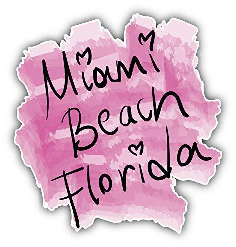 Tiukiu Miami Beach USA etiqueta de acuarela calcomanía de vinilo para portátil, nevera, guitarra,...