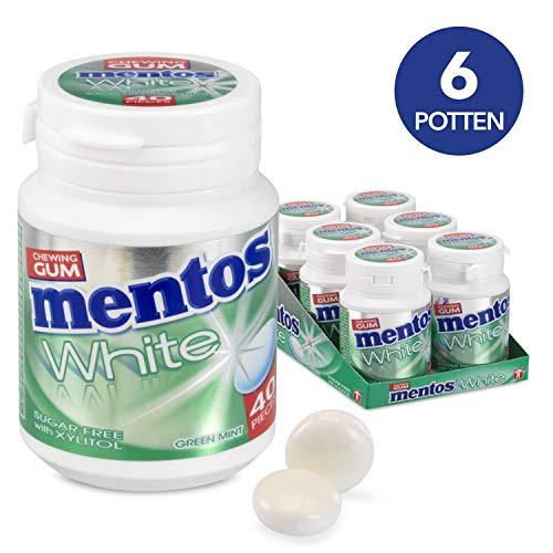 Mentos Gum White Green Mint, suikervrije kauwgom – verpakking van 6 potjes met 40 kauwgoms, muntsmaak voor een frisse adem