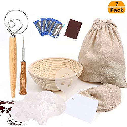 9 Inch Bread Proofing Basket Professional Baking Tool 7 Pack Set : Banneton Proofing Basket  Cloth Liner  Storage Bag  Scoring Lame  Whisk  Scraper  Stencils For Professional and Home Baker