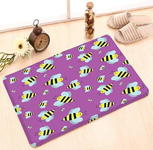 Alfombrillas para puertas Cocina Piso Baño Entrada Alfombra Alfombra absorbente Interior Baño Decoración Felpudos Goma Antideslizante Dibujos animados dulce abeja amarilla verano obrero bug miel natur
