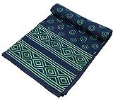 GURU SHOP Blockdruck Tagesdecke, Bett und Sofaüberwurf, Handgearbeiteter Wandbehang, Wandtuch - Design 10, Blau, Baumwolle, Größe: Single 150x200 cm, Tagesdecken mit Blockdruck