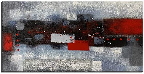 Large Abstract Red Gray Linen Wall Art Hand Painted Textured Oil Painting Picture on Canvas product image