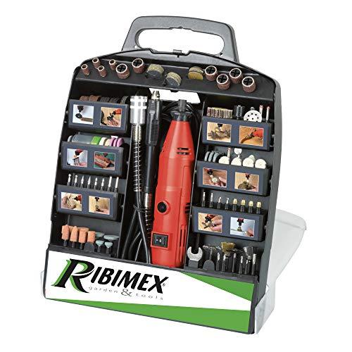 Ribimex PROMKIT301 Kit Mini Trapano in Valigetta, 300 Pezzi, per modellismo, 135 W, 230 V, Multicolore