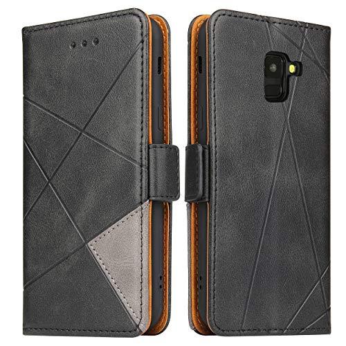 Lelogo Funda para Samsung A8 2018 Funda, Galaxy A8 2018 Funda de piel para teléfono móvil, funda plegable de piel para Samsung Galalxy A8 2018 Phone de 5,6 pulgadas (negro)