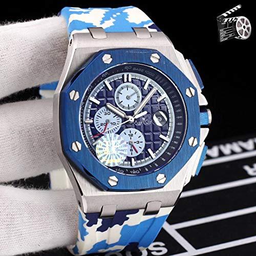 JFfactory Luxury Men Automatico Meccanico Zaffiro Nero Blu Verde Gomma Orologio in Acciaio Inossidabile Royal Eta3126 Movimento Grigio