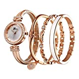 QFERWRelojes 4 PCS Set Watch Mujeres Rose Gold Diamond Bracelet Watch Luxury Jewelry Ladies Female Girl Hour Casual Relojes de Pulsera de Cuarzo, Rose White