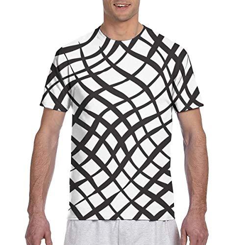 Herren T-Shirts Plaid Vektor Hintergrund Schwarz Weiß Herren Kurzarm Schwergewicht Rundhalsausschnitt