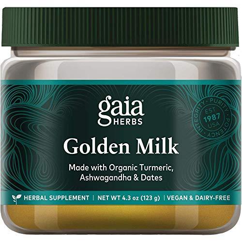 Gaia Herbs, Golden Milk Powder, Stress Support, Ashwaganda, Black Pepper, Cardamom, Date Palm, Turmeric, Vanilla, Vegan Powder Supplement, 4.3-Ounce