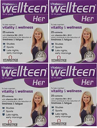 4X Vitabiotics Wellteen Her 13-19 30 Tablets (120 Tablets)