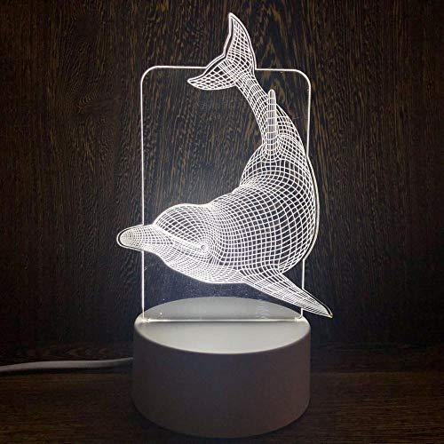 Optische LED-Nachtsicht, Verfärbung, Touch-Power-Fernbedienung, Nachtsicht, 3D-Nachtlicht, Geschenk, modisch, Cartoon-Delfin, Nachttischlicht, Stall-Nachtlicht