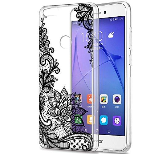 Eouine Cover Huawei P8 Lite 2017, Ultra Slim Cover Trasparente con Disegni, Morbido Antiurto Gel Bumper Case Custodia in TPU Silicone per Huawei P8 Lite 2017 (Fiore nero)
