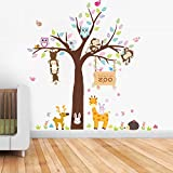 Animal Tree Wall Stickers, Elephant Jungle Animals Removable Self-Adhesive Mural Art Decals Home Decoration for Kids Bedroom Nursery DIY Wallpaper Kids Room Gift