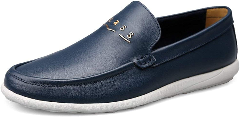 ZHRUI Boy's Men's Rubber Sole Slip-on Dark bluee Synthetic Penny Loafers UK 9.5 (color   -, Size   -)